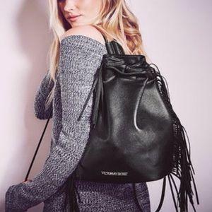 NWT Victoria's Secret Black Leather Fringe Purse